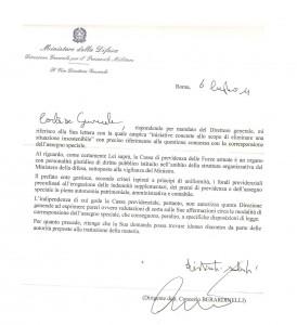 COMUNICAZIONI ANUPSA – ASSEGNO SPECIALE: lettera del Vice Direttore Generale per il Personale Militare, replica del Gen. Ruggieri