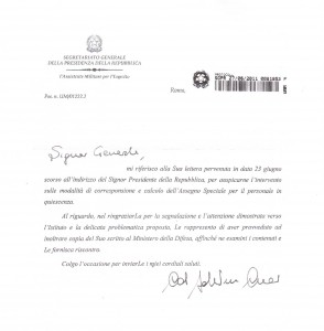 Comunicazioni ANUPSA – Assegno Speciale: lettera al capo dello Stato e risposta del Capo dello Stato