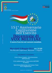 151° ANNIVERSARIO DELL'ESERCITO – DECENNALE DI VOX MILITIAE