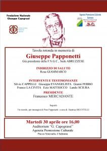 """Tavola Rotonda presso l'Auditorium """"G.Capograssi"""" dell'Apc di Sulmona in omaggio a Giuseppe Papponetti"""