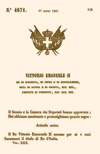 """17 marzo 1861 Vittorio Emanuele II assume il titolo di """"Re d'Italia"""". Una grande festa nazionale?"""