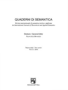 Ultimo numero edito Quaderni di Semantica