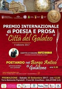 """Premio speciale della Critica allo scrittore Goffredo Palmerini, per """"L'Italia nel cuore""""  Il riconoscimento il 30 settembre, a Galatone, nell'ambito del Premio letterario """"Città del Galateo"""""""
