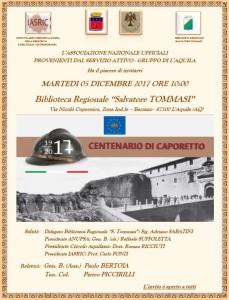 Caporetto, conferenza e concorso per le scuole aquilane.