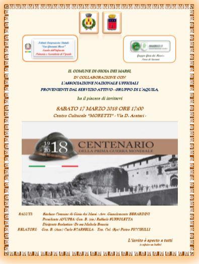 Importante e iniziativa del sindaco del Comune di Gioia Dei Marsi avv. Gianclemente Berardini per ricordare la I Guerra Mondiale.
