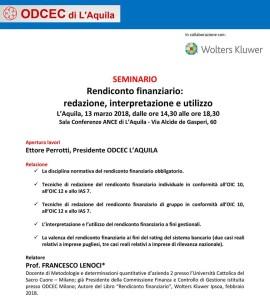 Rendiconto Finanziario:  redazione, interpretazione e utilizzo. Seminario a L'Aquila.