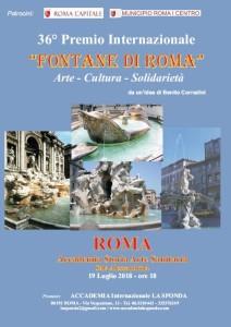 Giovedì 19 Luglio 2018, ore 18, alla Sala Alessandrina dell'Accademia di Storia Arte Sanitaria (Lungotevere in Sassia, 3 00193 Roma /Tel. 06.6833262), avrà luogo la cerimonia per la consegna del 36° Premio Internazionale.