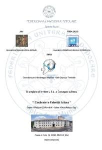 """""""I Carabinieri e l'Identità Italiana""""  Convegno ad Ariccia, 16 Febbraio 2019, Salone d'Onore di Palazzo Chigi."""