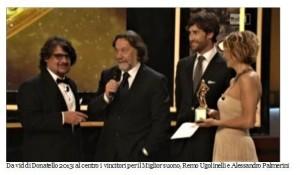 Gli abruzzesi Michele D'Attanasio e Alessandro Palmerini  candidati al David di Donatello per la Fotografia e il Suono,  con il film Capri Revolution di Mario Martone.