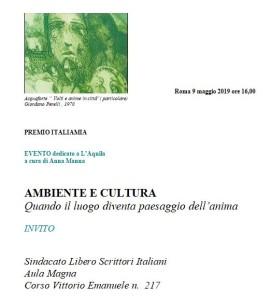 A Roma, il 9 Maggio, Premio ITALIAMIA e convegno per L'Aquila, scrigno d'Arte nell'Europa della Cultura.