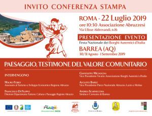FESTA NAZIONALE DEI BORGHI AUTENTICI D'ITALIA  Barrea (AQ), 30-31 agosto – 1 settembre 2019.
