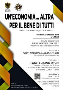 Un'economia altra… per il bene di tutti.  A L'Aquila, il 22 ottobre, conferenza del prof. Luigino Bruni.