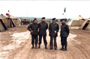 Esercitazione per Pubbliche Calamità. Da sinistra: il capitano R. Suffoletta; il Ten. Col. A. Ranieri, il Ten. Col. Q. Maurizio,. il Mar. E. Lintozzi.