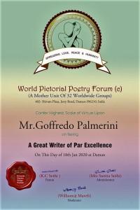 Invito dall'India per Goffredo Palmerini, ospite ad un evento culturale  E' giunto da Krishan Chand Sethi, insigne poeta e fotografo d'arte.