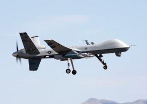 A MQ-9 Reaper flies above Creech Air Force Base, Nev., during a local training mission June 9, 2009. The 42nd Attack Squadron at Creech AFB operates the MQ-9.  (U.S. Air Force photo/Paul Ridgeway)