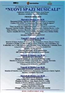 """ASCOLI PICENO, Festival """"Nuovi Spazi Musicali"""", 41^ edizione  Dal 6 al 20 ottobre, 5 concerti nella Sala della Vittoria – Pinacoteca civica."""
