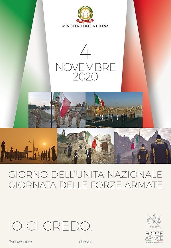 """4 novembre, """"Giorno dell'Unità Nazionale"""" e """"Giornata delle Forze Armate""""."""