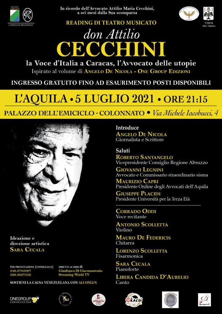 L'AQUILA, AL PALAZZO DELL'EMICICLO IL READING MUSICALE DI SARA CECALAIN RICORDO DELL'AVVOCATO ATTILIO CECCHINI