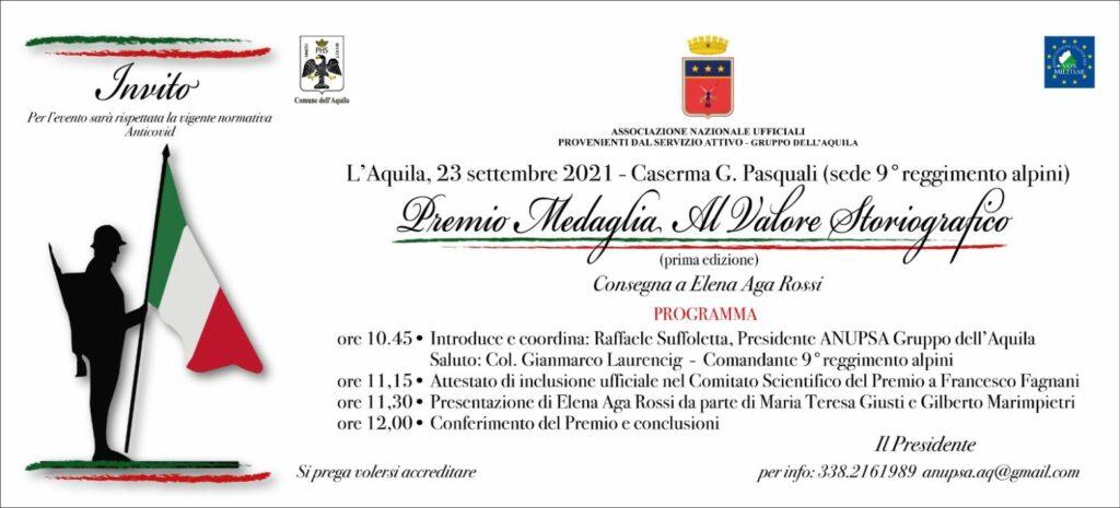 ANUPSA – GRUPPO DELL'AQUILA. Premio Medaglia al Valore Storiografico. Prima edizione.