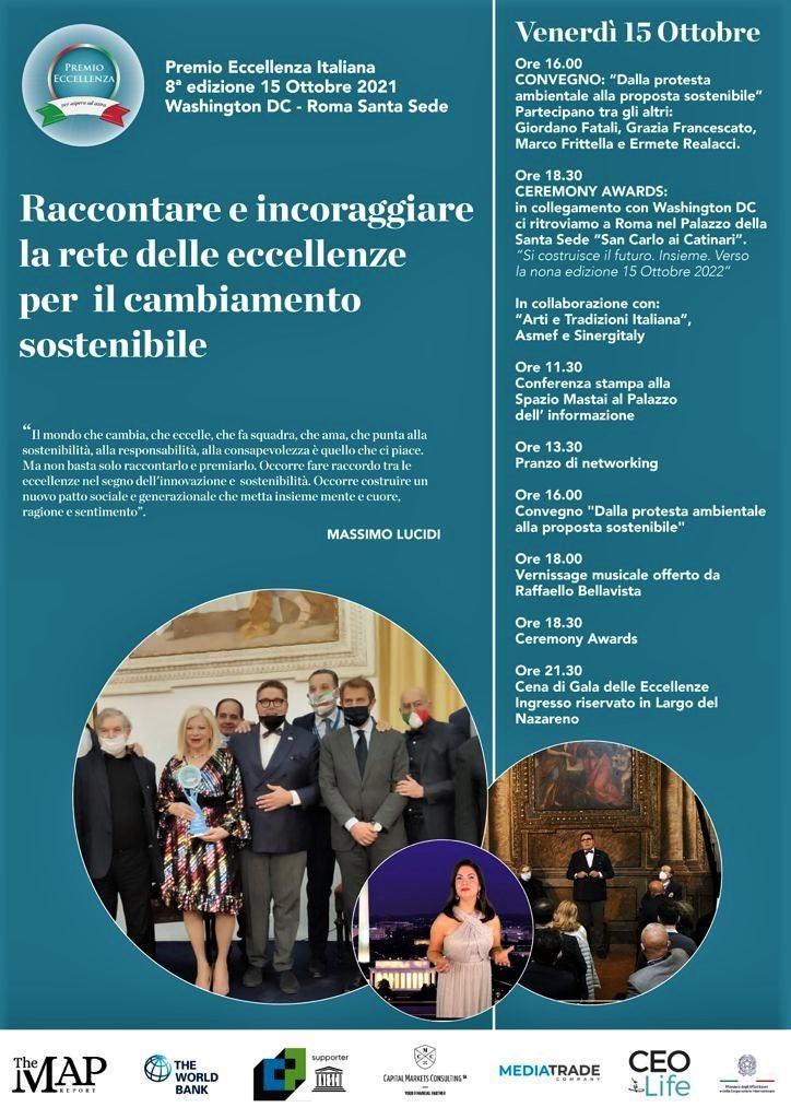 PREMIO ECCELLENZA ITALIANA 2021, TRA WASHINTON DC E ROMAIl 15 ottobre, tra i premiati, il direttore di Rai Uno Stefano Coletta e il Policlinico Gemelli